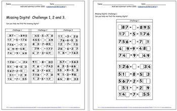 Mental Addition & Subtraction Grade 2 NBT.B.7 Grade 3 NBT.A.2