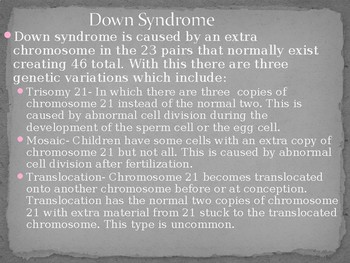 Mental Retardation and Down Syndrome PowerPoint