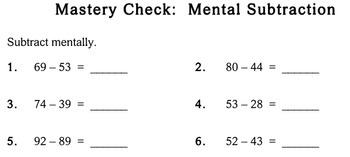 Mental Subtraction, 2nd grade - Individualized Math - worksheets