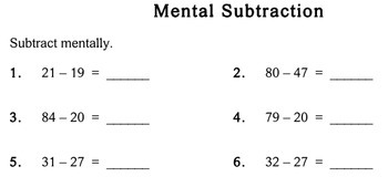 Mental Subtraction, 2nd grade - worksheets - Individualized Math