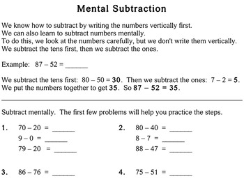 Mental Subtraction, 3rd grade - Individualized Math - worksheets