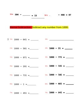 Mental Subtraction for 4th grade