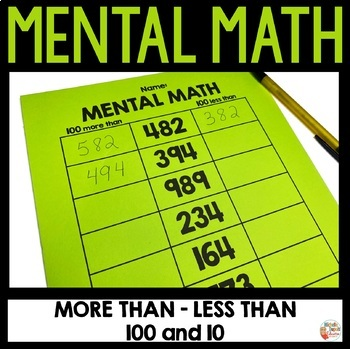 Mental math + and - 10 and 100