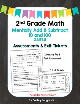 Mentally Add & Subtract 10 and 100 Exit Slips & Assessment