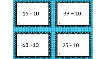 Mentally Add or Subtract 10 Task Cards