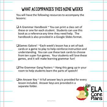 Mentor Sentences Bell Ringer for 7th Grade  Bundle ~Includes Grammar Task Cards!