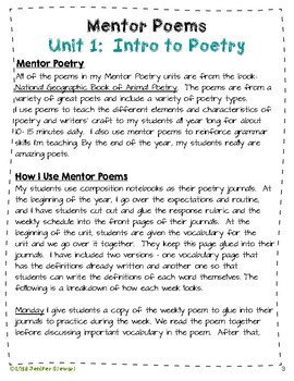 Mentor Poetry Unit 1