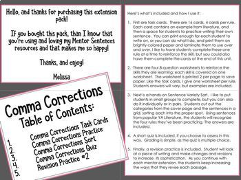 Mentor Sentence COMMA CORRECTIONS Extension Activities