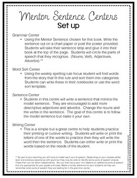 Mentor Sentence Centers:Word Work in Context - Miss Nelson is Missing