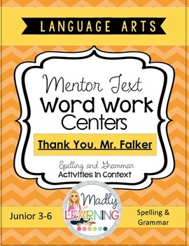 Mentor Text Word Work Centers - Thank you, Mr. Falker
