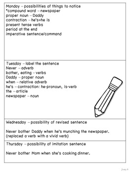 Diary of a Worm: Free Sample Mentor Sentence Lesson and Activity