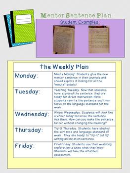 Mentor Sentence Nine Week Plan: Fifth Grade 1