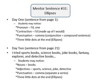 Mentor Sentence Packet - Set 04 - 10 Weeks of Lessons with Quizzes