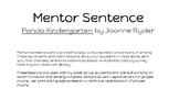 Mentor Sentence:  Panda Kindergarten