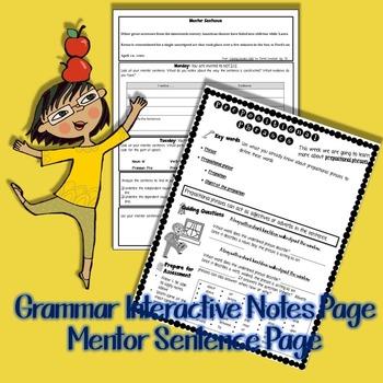 Prepositional Phrases: Mentor Sentence