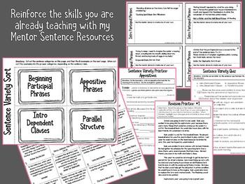 Mentor Sentence Extension Activities GROWING BUNDLE