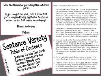 Mentor Sentence SENTENCE VARIETY Extension Activities