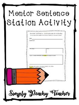 Mentor Sentence Station Activity