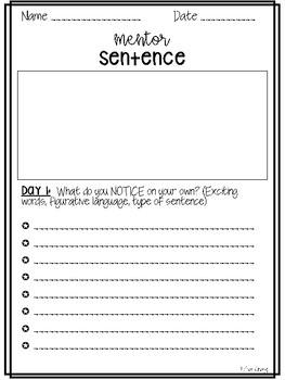 Mentor Sentence Template