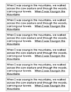 Mentor Sentence from When I was Young in the Mountains: Verb Tense