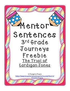 Mentor Sentences 3rd Grade Journeys Freebie: Cardigan Jones