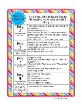 Mentor Sentences 3rd Grade Journeys Units 1-3