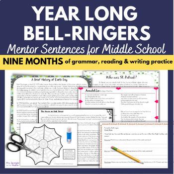 Bell Ringers for Middle School - Mentor Sentences YEAR LONG BUNDLE