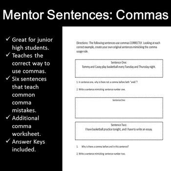 Mentor Sentences: Commas/ Comma Worksheet and Guide
