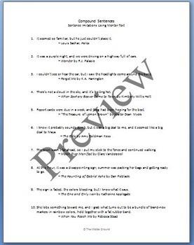 Mentor Sentences from Literature: Compound Sentences