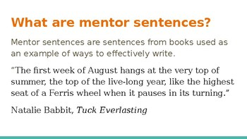 Mentor Sentences-  Grammar and Writing Inspiration