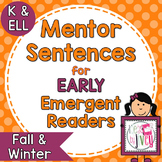 Mentor Sentences Mini-Unit: Fall/Winter Seasonal Books - Early Emergent Readers
