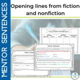 Mentor Sentences: Opening Lines of Fiction and Nonfiction Books
