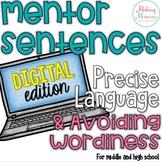 Mentor Sentences - Precise Language & Reducing Wordiness-  PAPERLESS