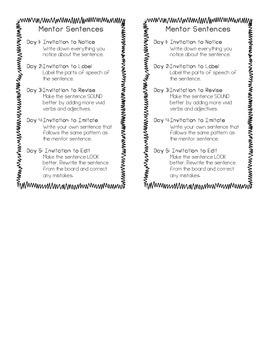 Mentor Sentences Reminder Card