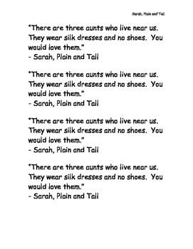 Mentor Sentences-Sarah, Plain and Tall