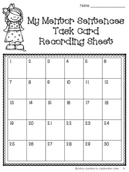 Mentor Sentences Task Cards {Nouns, Verbs, & Adjectives with Game Board}