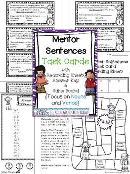 Mentor Sentences Task Cards {Nouns & Verbs with Game Board}