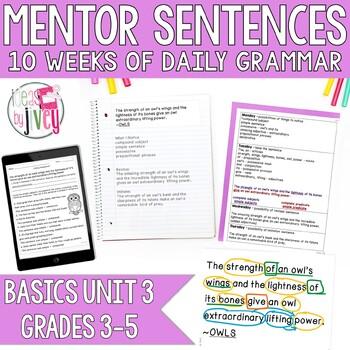 Mentor Sentences Unit: Just the Basics Set 3 (Grades 3-5)
