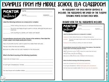 Mentor Sentences for Middle School Grammar 6th, 7th, 8th CCSS {Quarter 1}
