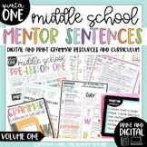 Mentor Sentences for Middle School Grammar | 6th 7th 8th | Digital | Volume 1 |