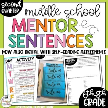 Mentor Sentences for Middle School 6th, 7th, and 8th CCSS Aligned {Quarter 2}