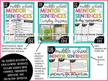 Mentor Sentences for Middle School Grammar 6th, 7th, 8th CCSS Aligned {Qtr. 2}