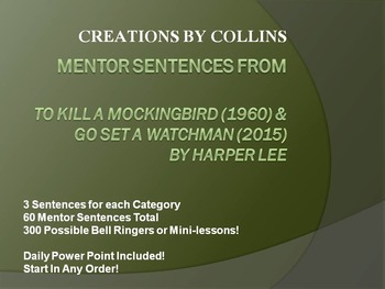 Mentor Sentences from To Kill a Mockingbird and Go Set a Watchman