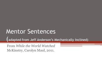 Mentor Sentences from While the World Watched