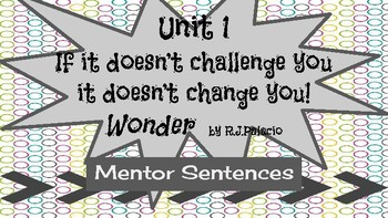 Mentor Sentences with RJ Palacio's novel Wonder