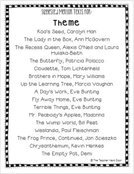 Mentor Text List for Reading Strategies: Literature Freebie for 2nd - 6th Grade