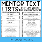 Mentor Text List for Reading Strategies: Literature Freebi