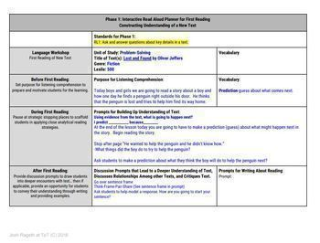 Read Aloud Lesson Plan and Activities Bundle (Mentor Text Mania Unit 5)