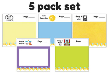 5 Pack Set of Mentor Text Sticky Notes for Teachers & Students
