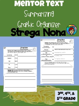 Mentor Text Strega Nona Summary Graphic Organizer for Upper Elementary